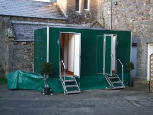 toilet trailer on location